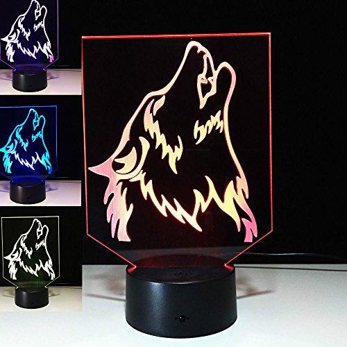 3D Wild Wolf Glühen LED Lampe 7 Farben erstaunliche optische Täuschung Art Skulptur Ferneinstellung Lichter produziert einzigartige Lichteffekte und 3D-Visualisierung für Home Decor-kreative Geschenk (Peanuts Halloween Dekoration)
