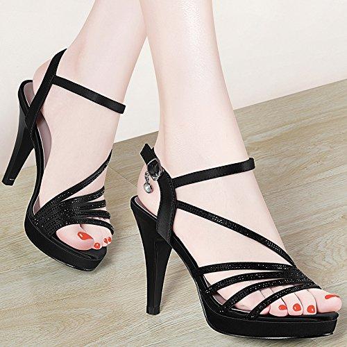 GTVERNH-black bocca di pesce piatto con i tacchi alti signore d'estate le scarpe con una fibbia sandali tutti match,36 Thirty-six