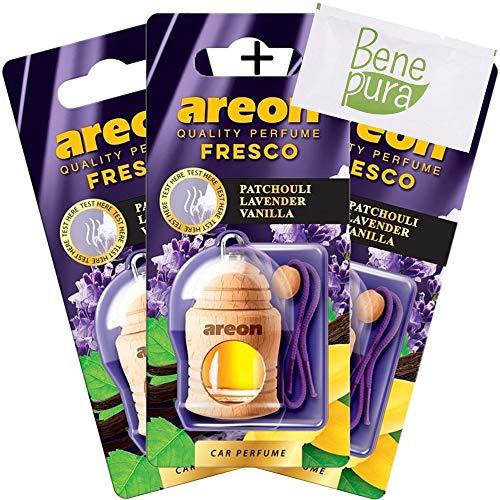 AREON auto deodorante profumo fresco 4ml-patchouli, lavanda, diffusore di profumo di vaniglia-bottiglia da appendere con copertura in legno naturale, a lunga durata, set di 3