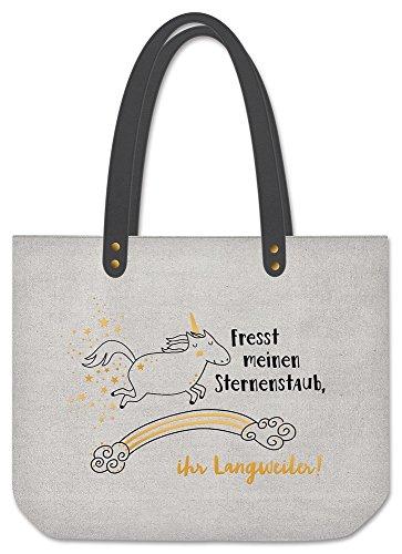 Grafik Werkstatt Shopper Damen | Tasche | Shopping-Bag | Leinen | grau- gold | Fresst meinen Sternenstaub