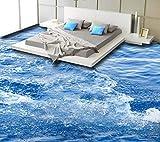 Weaeo Wasserdichte 3D Bodenfliesen Benutzerdefinierte Wunderbare Oberflächenwellen Wallpaper Vinyl Bodenbelag Selbst Adheisve-350X250Cm