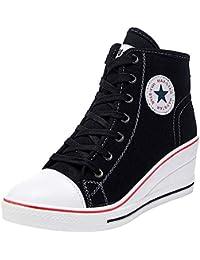 separation shoes 21b00 9a730 wealsex Femme Baskets Mode Compensées Montante Chaussures Casuel Toile  Talon 6cm Sneakers Tennis