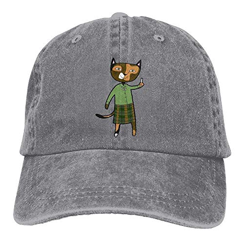 GHEDPO Cat Teacher Denim Baseball Caps Hat Adjustable Cotton Sport Strap Cap for Men Women