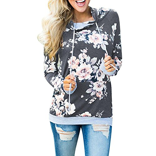 BIGHUB Small , Dark Gray : Mingfa Womens Ladies Autumn Winter Casual Loose Floral Hooded Sweatshirt Jumper Pullover Tops Blouse