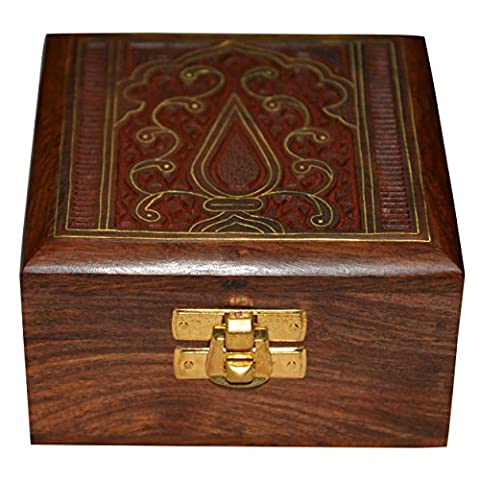 Jewellery Keepsafe Box Square Shape Wood Carving with Brass Inlay from India