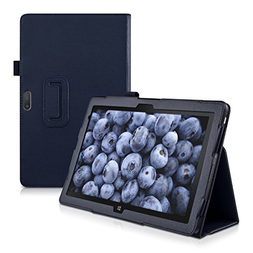 kwmobile Elegante funda de cuero sintético para Dell Venue 11 Pro 7000 en azul oscuro con una práctica FUNCIÓN DE SOPORTE