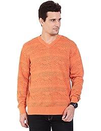 TAB91 Men's Cotton Rich Orange V Neck Pullover