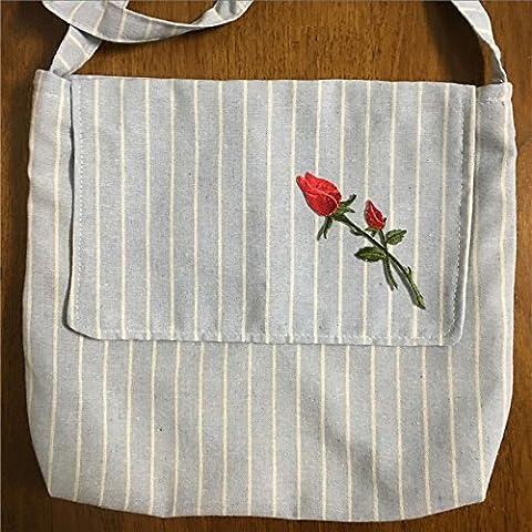 Handgefertigt Streifen Baumwolle Leinen Klappe Messenger Tasche bestickt Blumen Applikation blau