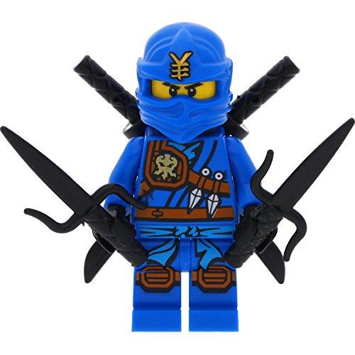 LEGO Ninjago Minifigur Jay Knee Pads (aus Set 70749) mit 4 GALAXYARMS Schwertern (Ninjago Lego Set Jay)