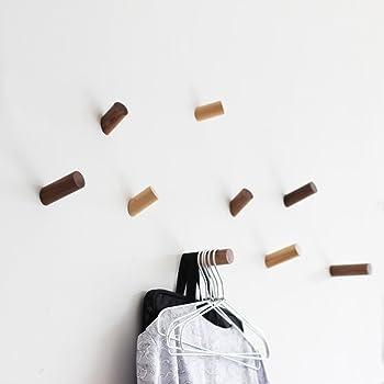 anaan One-Tenth Gancio Appendiabiti Attaccapanni da parete Gancio del guardaroba in legno massello Vite universale, sostituibile (Faggio, L Φ3*10cm)