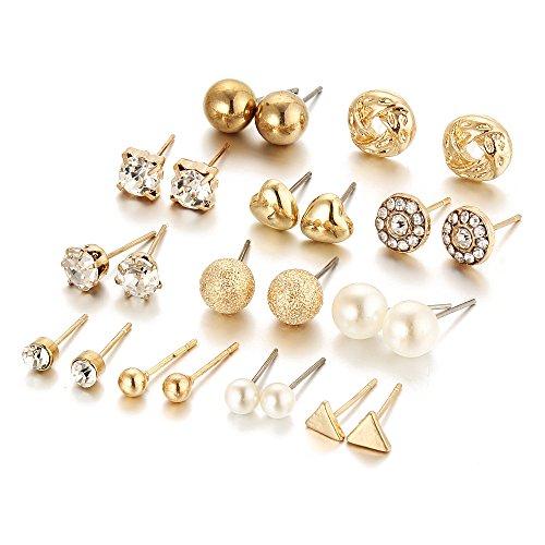 Il pacchetto dei 12 pacchetti assortisce i monili dell'orecchino multipli della vite prigioniera con la scheda per le ragazze delle donne (d'oro)