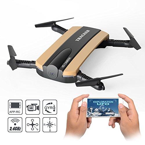 JXD 523W RC Drone WIFI FPV Pliable Quadcopter avec Caméra /Altitude Maintenez /2.4G 6-Axis Remote Control Par TIME4DEALS (Or)