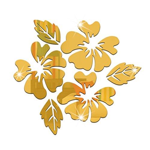 FeiyanfyQ Natur Blume Blätter Spiegel dekorative Wand Aufkleber Dekor für Wohnzimmer