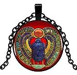 Générique Collar con Colgante de escarabajos Egipcio con símbolo Sagrado. C1.