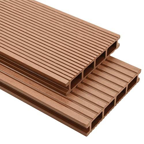 vidaXL Panneaux de Terrasse WPC et Accessoires 16 m² Marron Revêtement de Sol