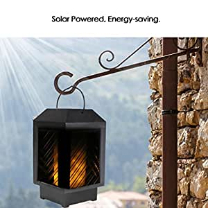 LCLrute Solar Powered Outdoor Garden Yard Wall Fence Pathway Lamp Gutter Flames Light