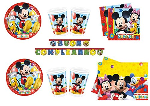 TOPOLINO MICKEY MOUSE ADDOBBI FESTA kit n°25 Cdc - (8 piatti, 8 bicchieri, 20 tovaglioli,1 Tovaglia, 1 Ghirlanda Buon Compleanno)
