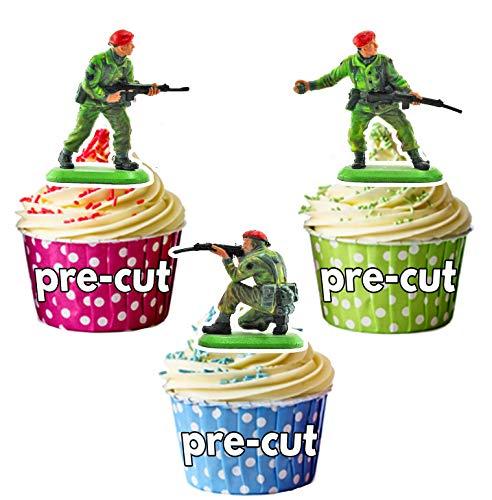 Armee Spielzeug-Soldaten 12 essbaren Kuchendeckel