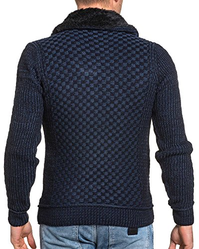 BLZ jeans - Pull maille hiver navy col montant Bleu