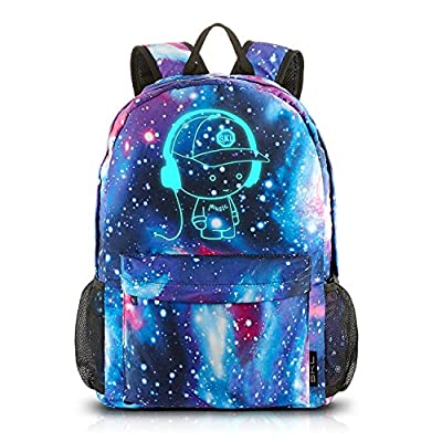 Galaxy School Backpack,Cool Unisex Canvas Backpack Anime Luminous Backpack Daypack Shoulder School Bag Laptop Bag (Blue)