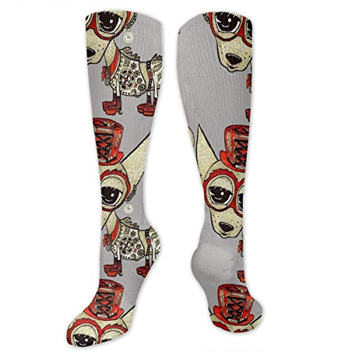 Gped Kniestrümpfe,Socken Steampunk Chihuahua Compression Socks,Knee High Socks,Funny Socks for Women Men - Best Medical,Sports,Running, Nurses,Maternity,Pregnancy,Travel & Flight Socks