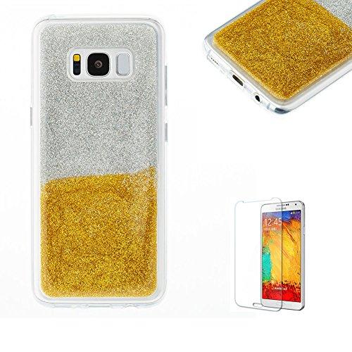 Glitzer TPU Hülle für Samsung Galaxy S8,Weich Gummi Handyhülle für Samsung Galaxy S8,Funyye Stilvoll Luxus Gradient Farbe Ultra Dünnen Glänzend Sparkles Bling Flexibel Stoßfest Bumper Soft Rückseite Tasche für Samsung Galaxy S8 + 1 x Frei Displayschutzfolie - Gold