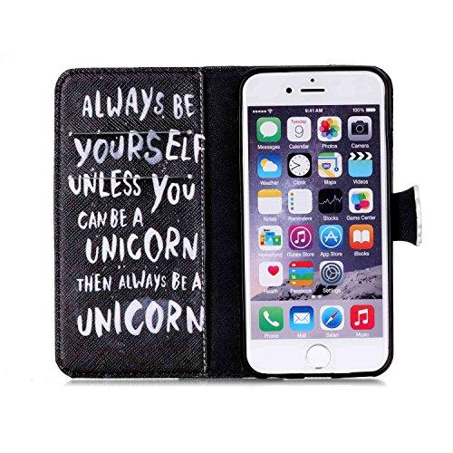 iPhone 6S Plus Hülle, iPhone 6 Plus Hülle, SainCat PU Leder Tasche Schutz Case Cover Schutzhülle Ledertasche im BookStyle Hülle Schutzhülle Brieftasche Ultra Slim Stand Lederhülle Etui mit Karikatur M Englisch Alphabet