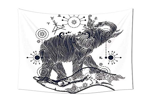daawqee Psychedelic Tapestry Elephant in The Hands with Sacred Geometry Occult Symbols Inner Balance Illustration Wall Hanging for Bedroom Living Room Dorm Grey Unique Home Decor Hampton Symbol