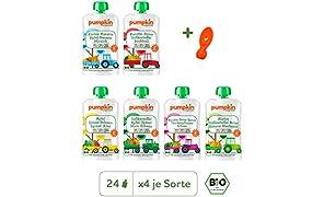 Pumpkin Organics ERSTE LIEBE Bio Gemüse Quetschies, 24er Pack (24 x 100g plus 1 Löffelaufsatz) - Snacks für Kinder und Babys ab dem 6. Monat