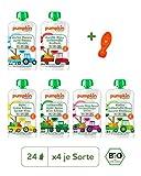 Pumpkin Organics ERSTE LIEBE Bio Babybrei Quetschbeutel 25er Pack (25 x 100g plus 1 Löffelaufsatz) - Snack für Kinder und Babys ohne Zusatzstoffe ab dem 6. Monat