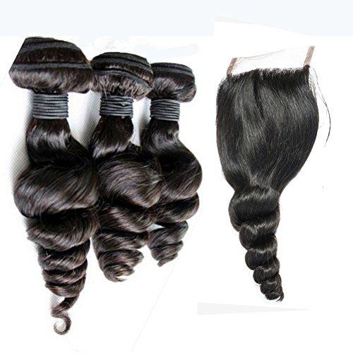 [Magasins d'usine]Full Shine 7A Grade Loose Wave Longueur Mixte 55+60+65 CM Hair Weft avec 4\\