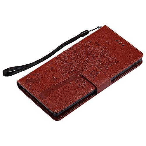 Housse en cuir en argent massif en relief en cuir Housse en cuir horizontale Folio Flip Stand Portefeuille en sac en cuir avec cordon et support et carte Trépieds pour Sony Xperia E7 et L1 ( Color : R Brown
