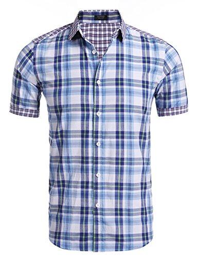 Coofandy Mens Short Sleeve Shirts Casual Button Down Plaid Tops S M L XL XXL