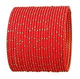 Touchstone Colección de brazaletes de Colores Indios Bollywood Exclusivo Golden Glaze Hot Red Color Designer Joyería Especial Tamaño Grande Brazalete Pulseras. Set de 24 Unidades.