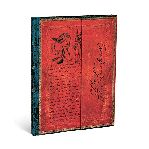 Paperblanks Diari a Copertina Rigida Lewis Carroll, Alice nel Paese delle Meraviglie | Bianco | Ultra (180 × 230 mm)