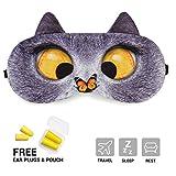 OKSANO Schlafmaske mit gratis Ohrstöpseln, mit kreativem Tieraugen-Motiv und Kühl-/Wärme-Kompresse