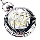 xigeya® New Fashion die gelb Freimaurer quadratisch Muster Silber groß Zifferblatt Taschenuhr Kette