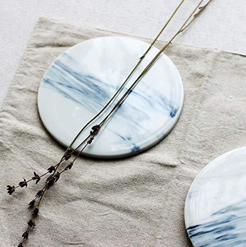Fushenr Anti-Rutsch-Keramik-isolierte Untersetzer, rund, Marmor, Wasseruntersetzer - Marmor-runde Untersetzer