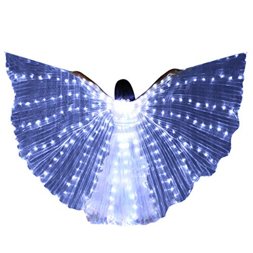 Cuteelf LED Lichter Wings Bauchtanz Kostüm Angel Isis Butterfly Wings und Teleskopstangen 360 Grad Bar Performance Dance Zubehör Requisiten Fairy Elf Halloween Christmas