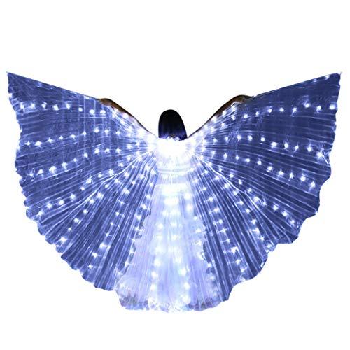 bloatboy 318 LED Bunte Isis Tanzen Flügel, Upgrade Bauchtanz Dance Kostüm Mantel Engelsflügel für Bühnen Weihnachten Cosplay Party (Weiß)