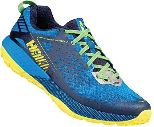 Hoka One One Speed Instinct 2 azul y amarillo zapatos de Trail