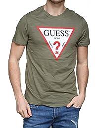 GUESS Camiseta Retro Logo Cuello Redondo Hombres, Azul Real