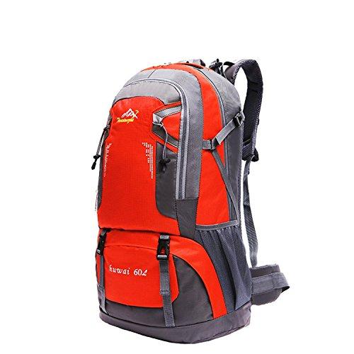 HWJF 60L Sacchetto di spalla esterno della borsa di scalata impermeabile della borsa di spalla esterna di grande capacità , black Orange