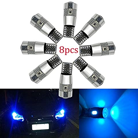 Ralbay 8Pcs T10 Canbus LED Blue Car Light Bulbs T10 W5w 6 SMD 5630 194 168 2825 Wedge LED Car Lights Source Replacement Bulbs Side Map Interior Lamps Canbus-T10-6SMD-5630