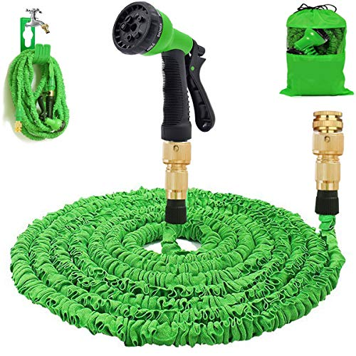 AILUZE Garden Hose 50Ft Expandable Water Hose Pipe - 3 Times Expanding Flexible Hose, 8-Pattern Spray Gun Anti-leakage Hose Pipe, Brass Hose Fittings, Lightweight, Portable and Easy Storage