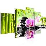 Bilder Orchidee Feng Shui Wandbild 200 x 100 cm Vlies - Leinwand Bild XXL Format Wandbilder Wohnzimmer Wohnung Deko Kunstdrucke Pink 5 Teilig -100% MADE IN GERMANY - Fertig zum Aufhängen 502051a