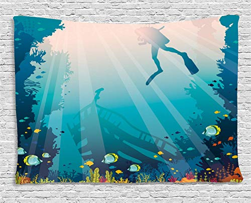 MLNHY Sea Life Tapestry, Silhouette of a Scuba Diver Sunken Ship and Coral Reef, Wall Hanging for Bedroom Living Room Dorm, 80 W X 60 L Inches, Pale Slate Blue Teal and Multicolor -