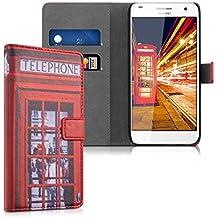 kwmobile Funda para Huawei Ascend G7 - Wallet Case plegable de cuero sintético - Cover con tapa tarjetero y soporte Diseño cabina Londres en rojo negro blanco