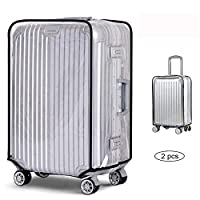 2 pcs Clear PVC Suitcase Cover Clear Waterproof Scratchproof PVC Luggage Cover Suitcase Protector Cover Travel Luggage Trolley Case Cover (24)