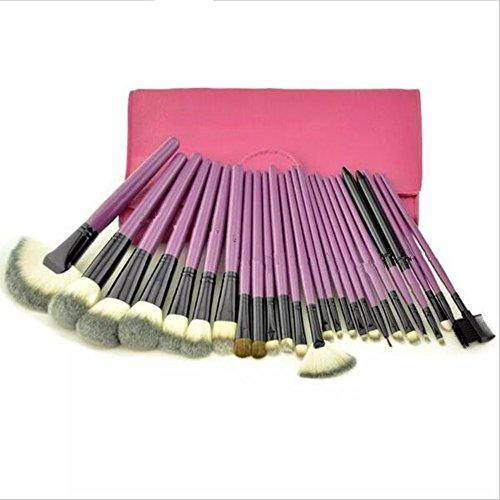 24 pcs Pro Lot de pinceaux de maquillage Fond de teint Maquillage kit de brosse à cheveux synthétiques de haute qualité Cosmétique Manche en bois étui en cuir PU